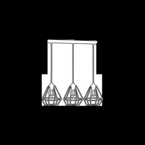 White Hanging Lamp Alma White 3x E27 small 3