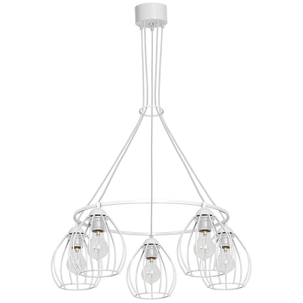 Hanging lamp Don White 5x E27