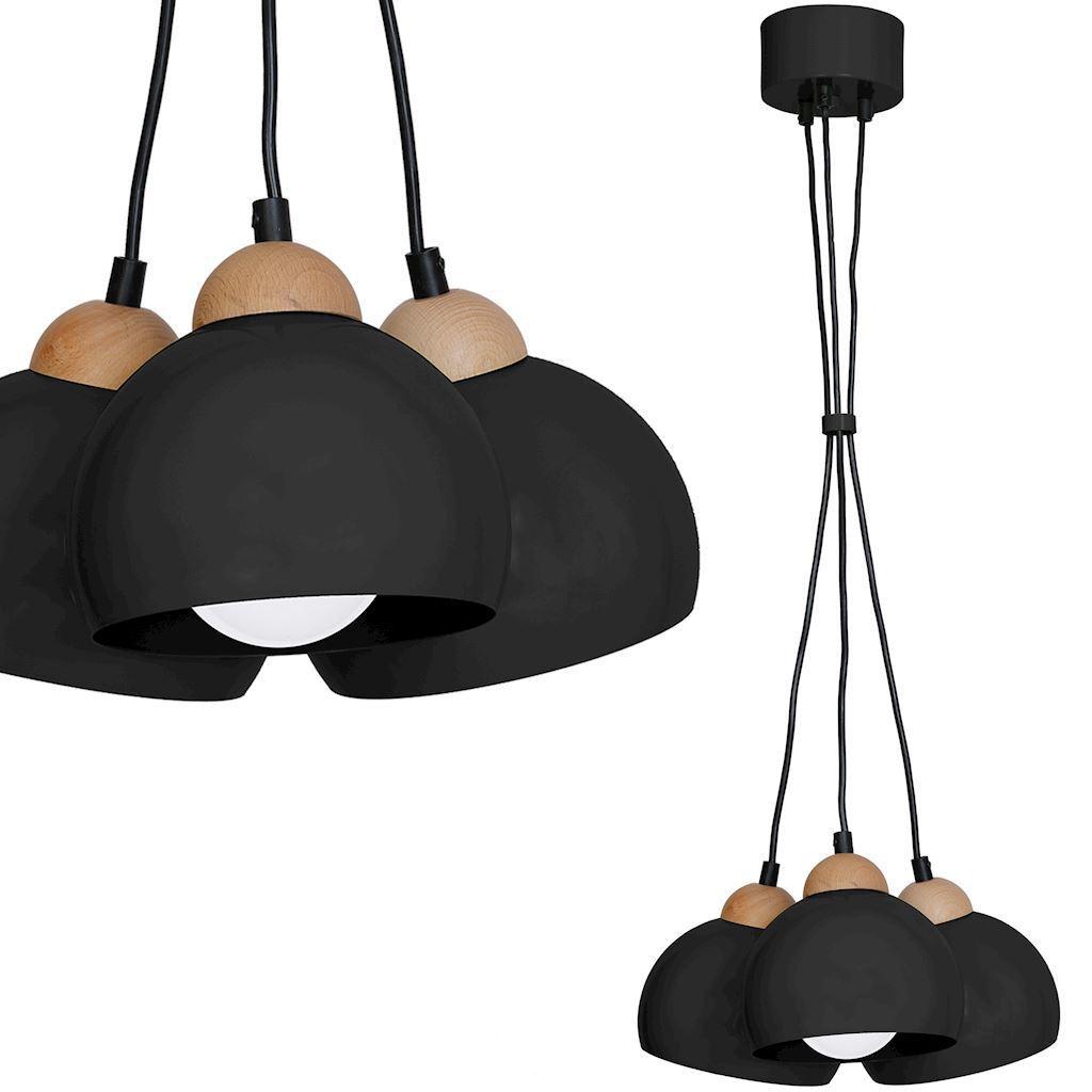 Black Hanging Lamp Dama Black 3x E27