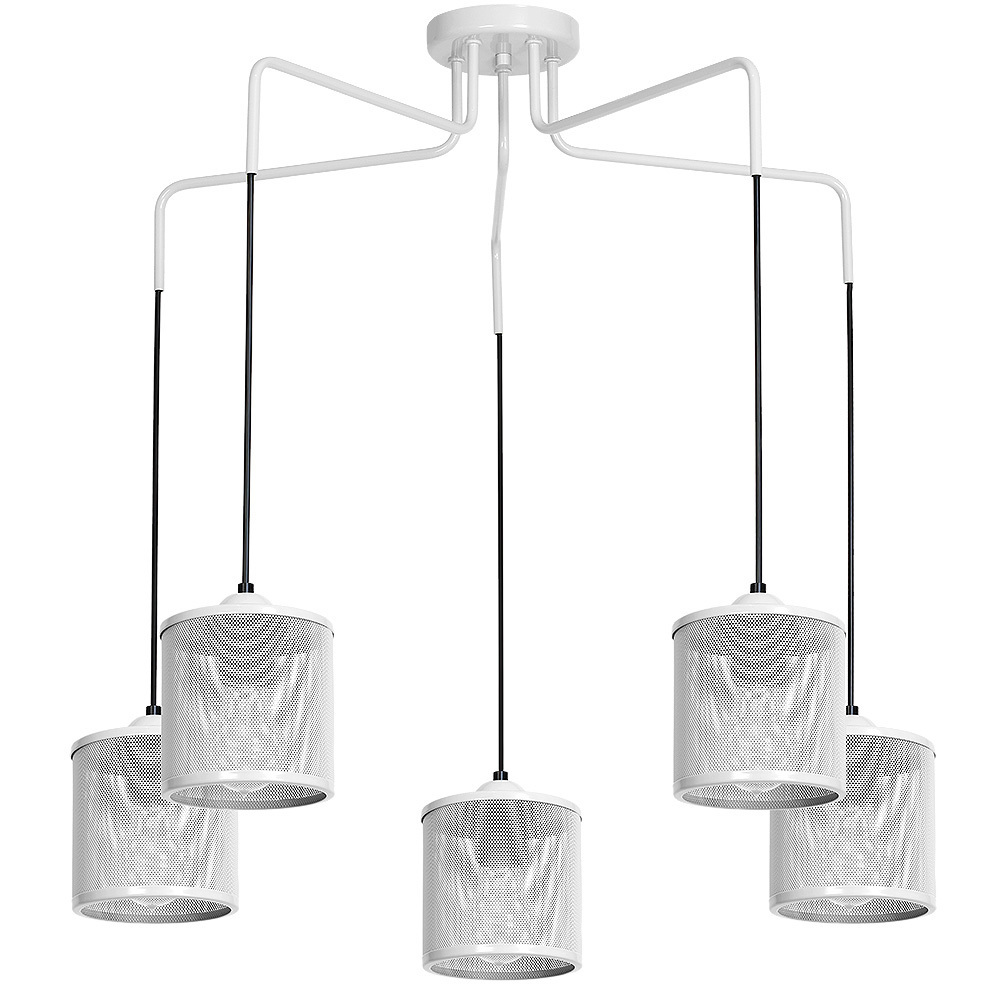 Hanging lamp Louise White 5x E27