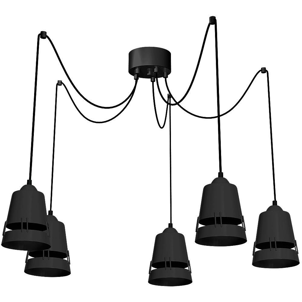 Black Hanging Lamp Apollo Black 5x E27