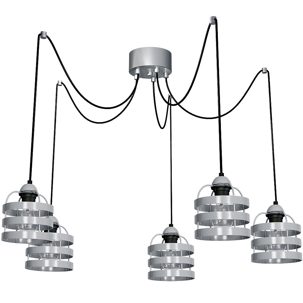Gray Hanging Lamp Lars Gray 5x E27