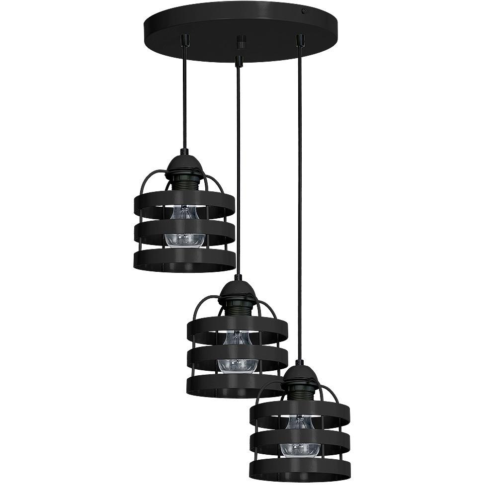 Black Hanging Lamp Lars Black 3x E27