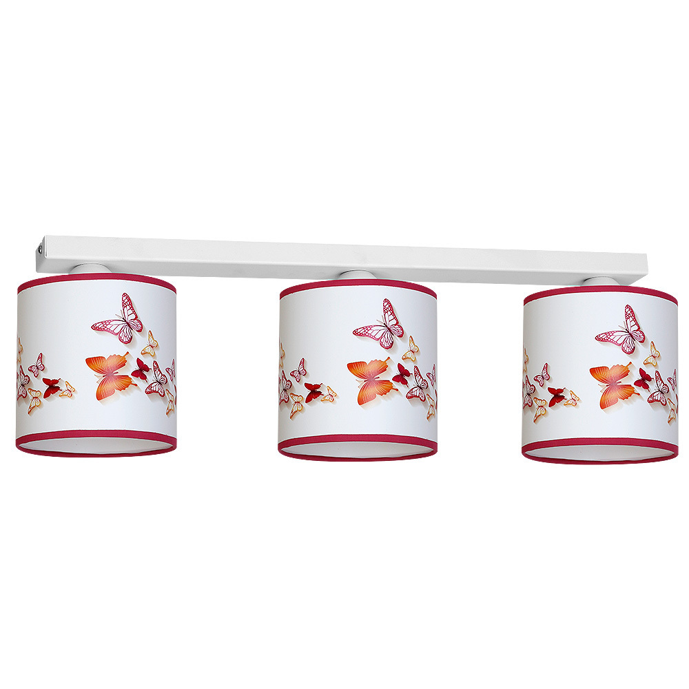 Multicolor Ceiling Lamp Butterflies 3x E27