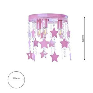 Pink Ceiling Lamp Star 3x E27 small 6