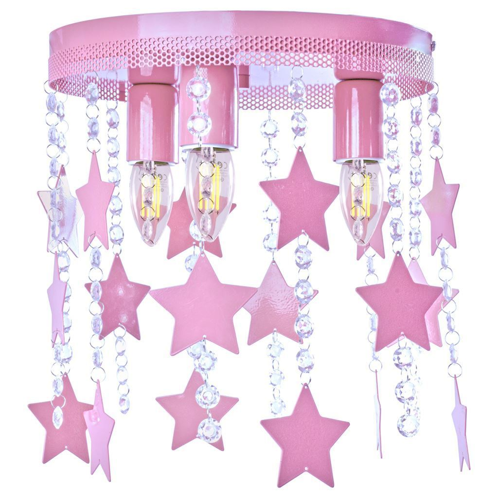 Pink Ceiling Lamp Star 3x E27