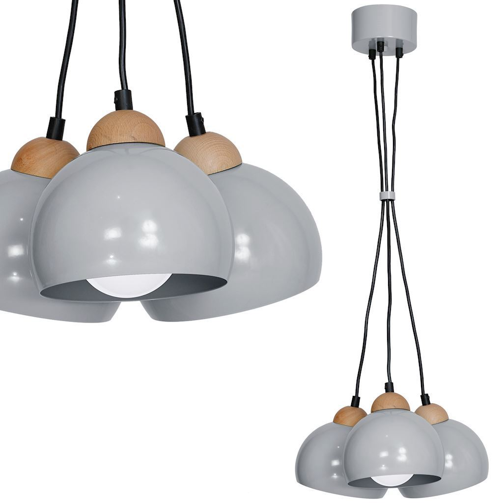 Gray Hanging Lamp Lady Gray 3x E27