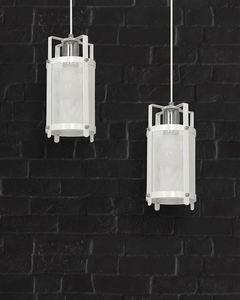 White Hanging Lamp Bronx 2x E27 small 1