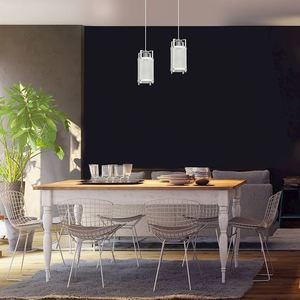 White Hanging Lamp Bronx 2x E27 small 2