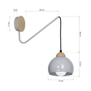 Gray Wall lamp Dama Gray 1x E27 small 7