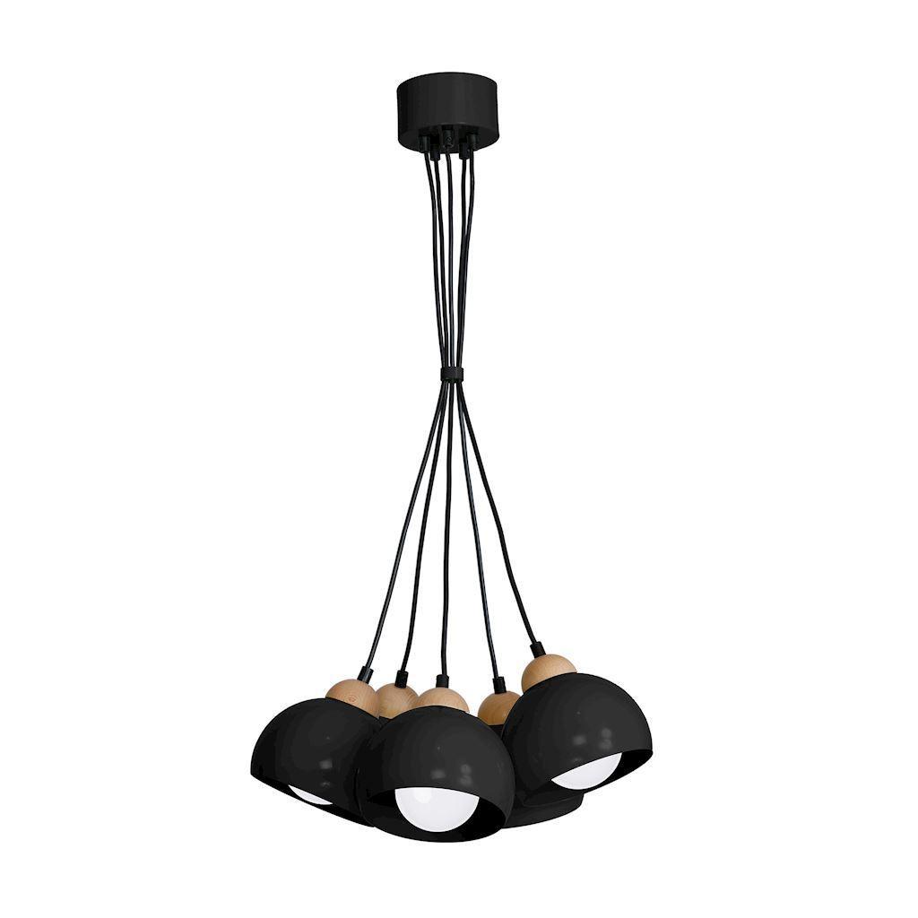 Black Hanging Lamp Dama Black 5x E27