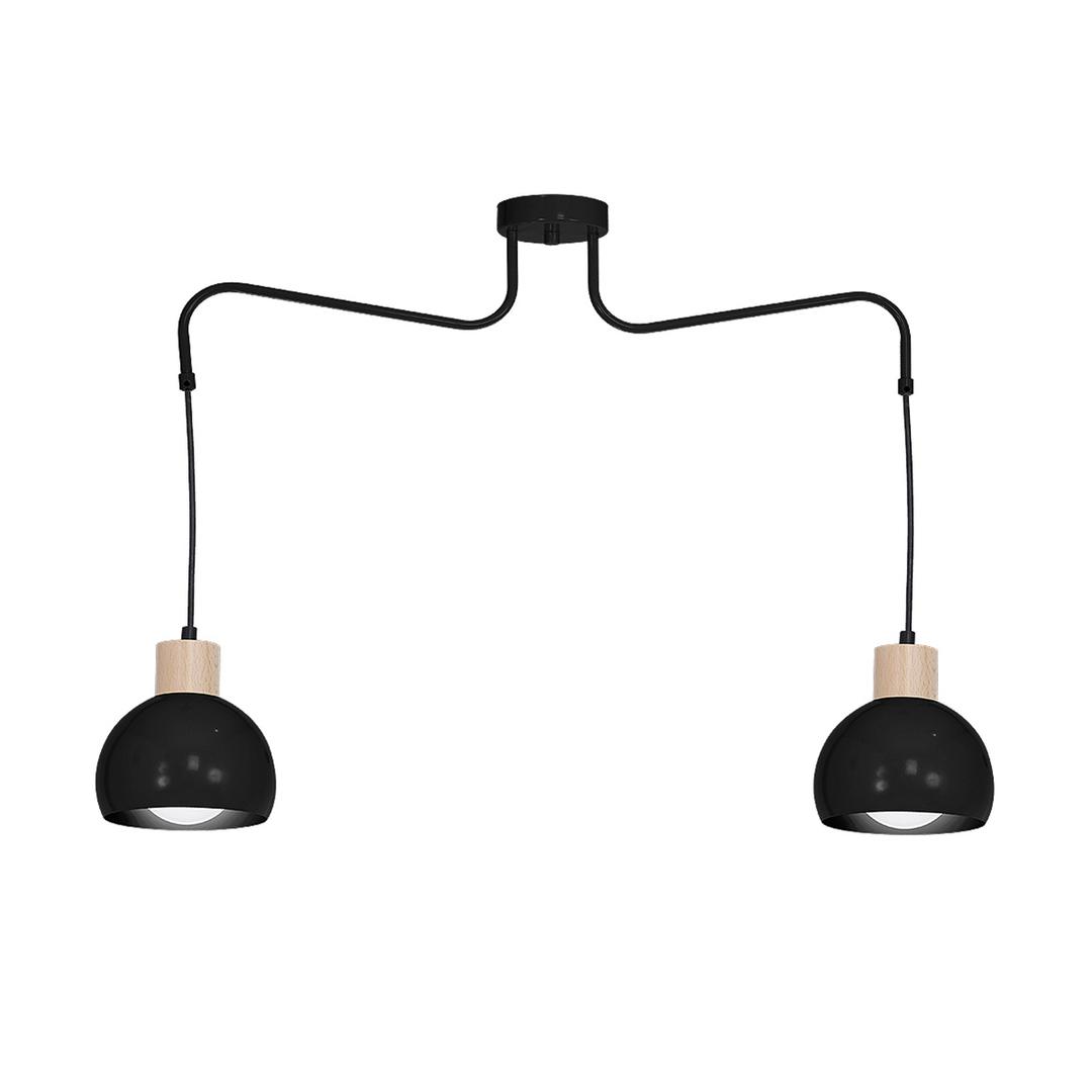 Black Hanging Lamp Capri Black 2x E27