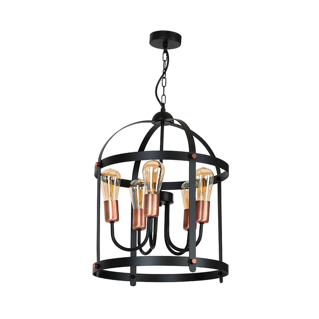 Black Dublin Hanging Lamp 5x E27