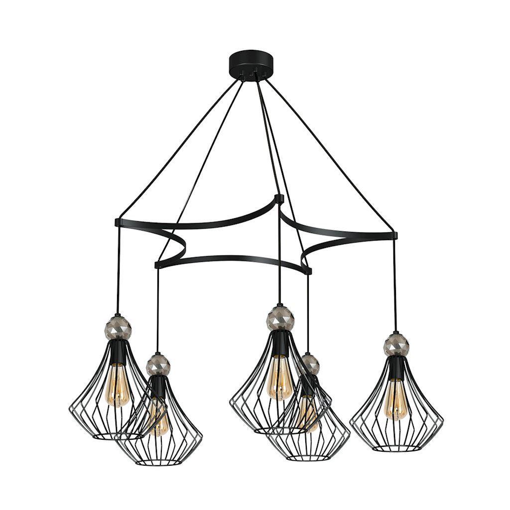 Black Hanging Lamp Jewel Black 5x E27