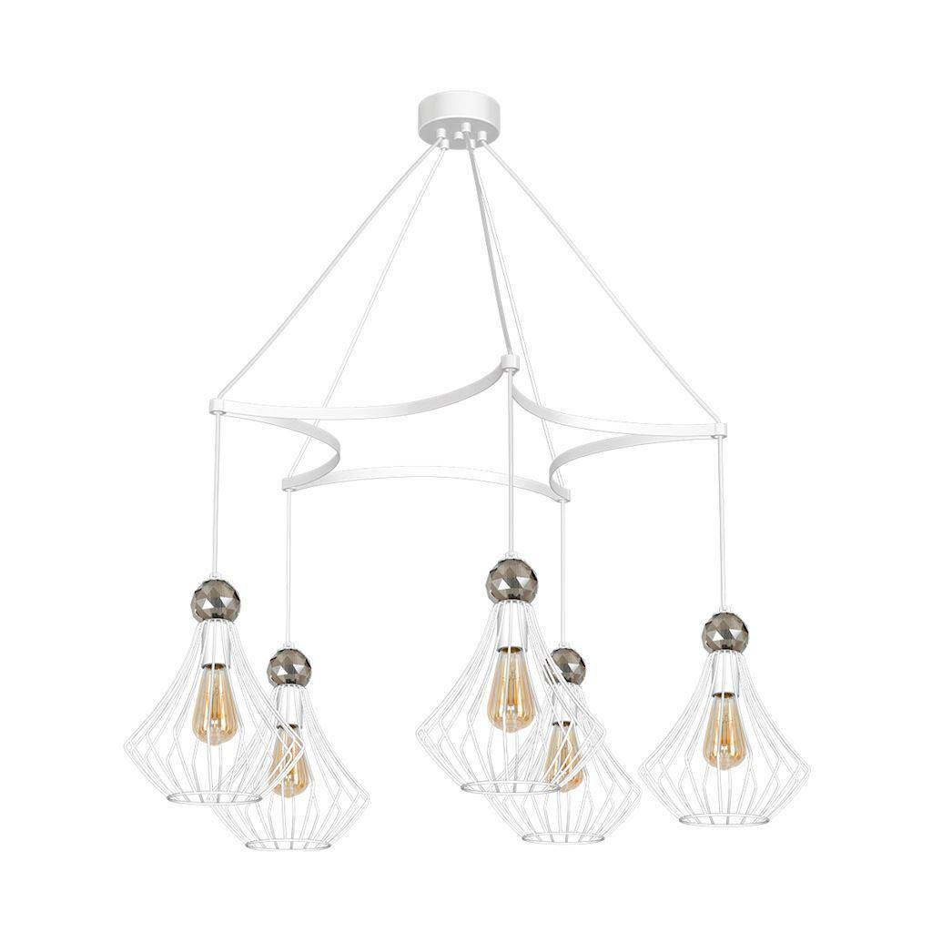 White Jewel White Hanging Lamp 5x E27