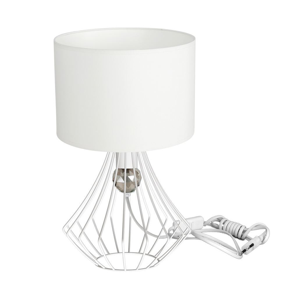 Jewel White 1x E27 Table Lamp