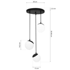Black Hanging Lamp Sphere Black 3x E14 small 5