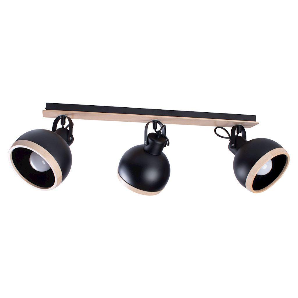 Black Oval Black Ceiling Lamp 3x E27