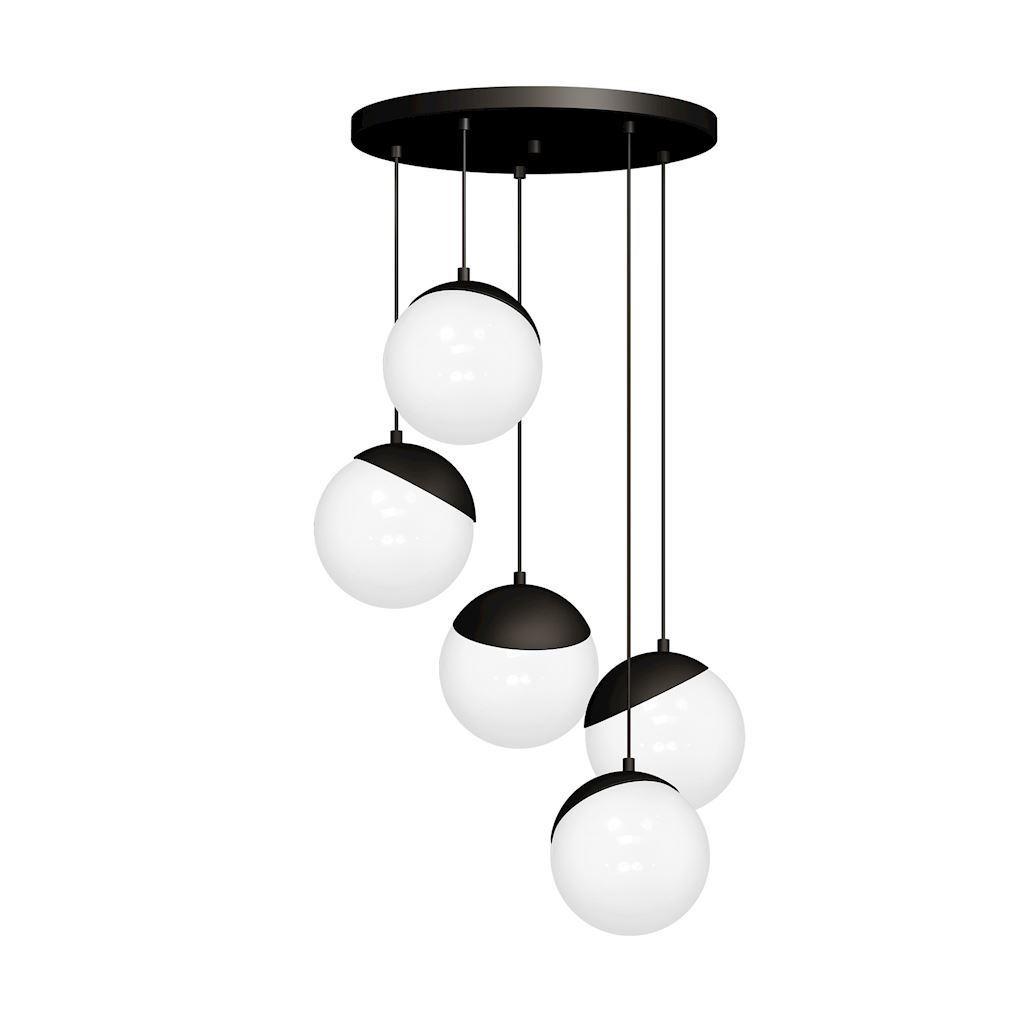 Black Hanging Lamp Sphere Black 5x E14