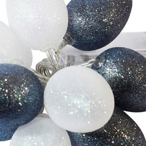 Large Plastic LED Easter Eggs With White And Gray Glitter small 1