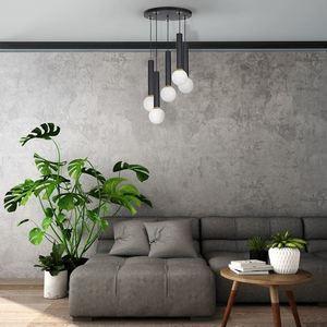 Black Hanging Lamp Auris Black 5x E14 small 1