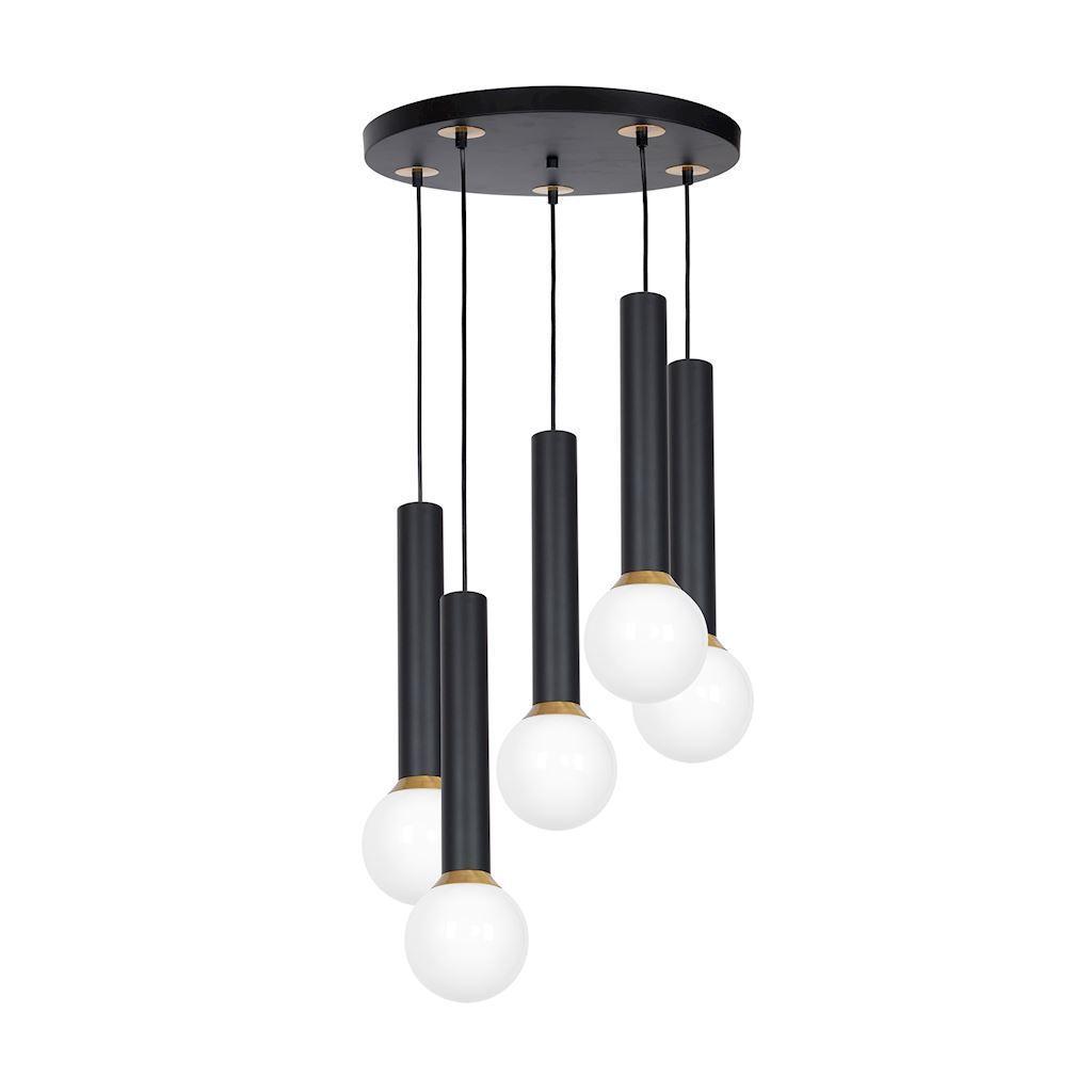 Black Hanging Lamp Auris Black 5x E14