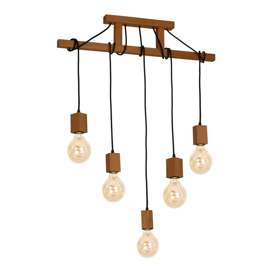 Wood Hanging Lamp Jack 5x E27 Oak