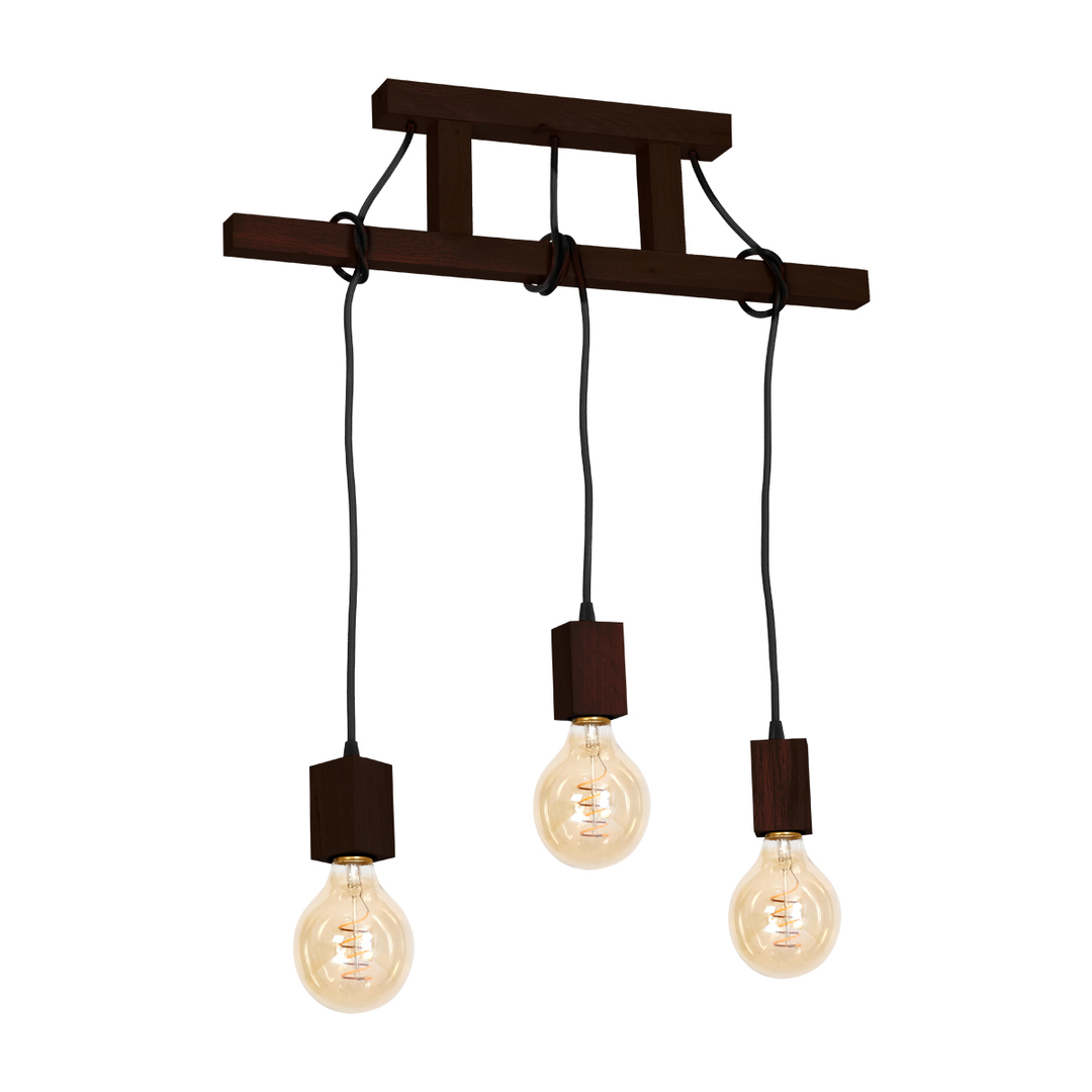 Wood Hanging Lamp Jack 3x E27 Walnut