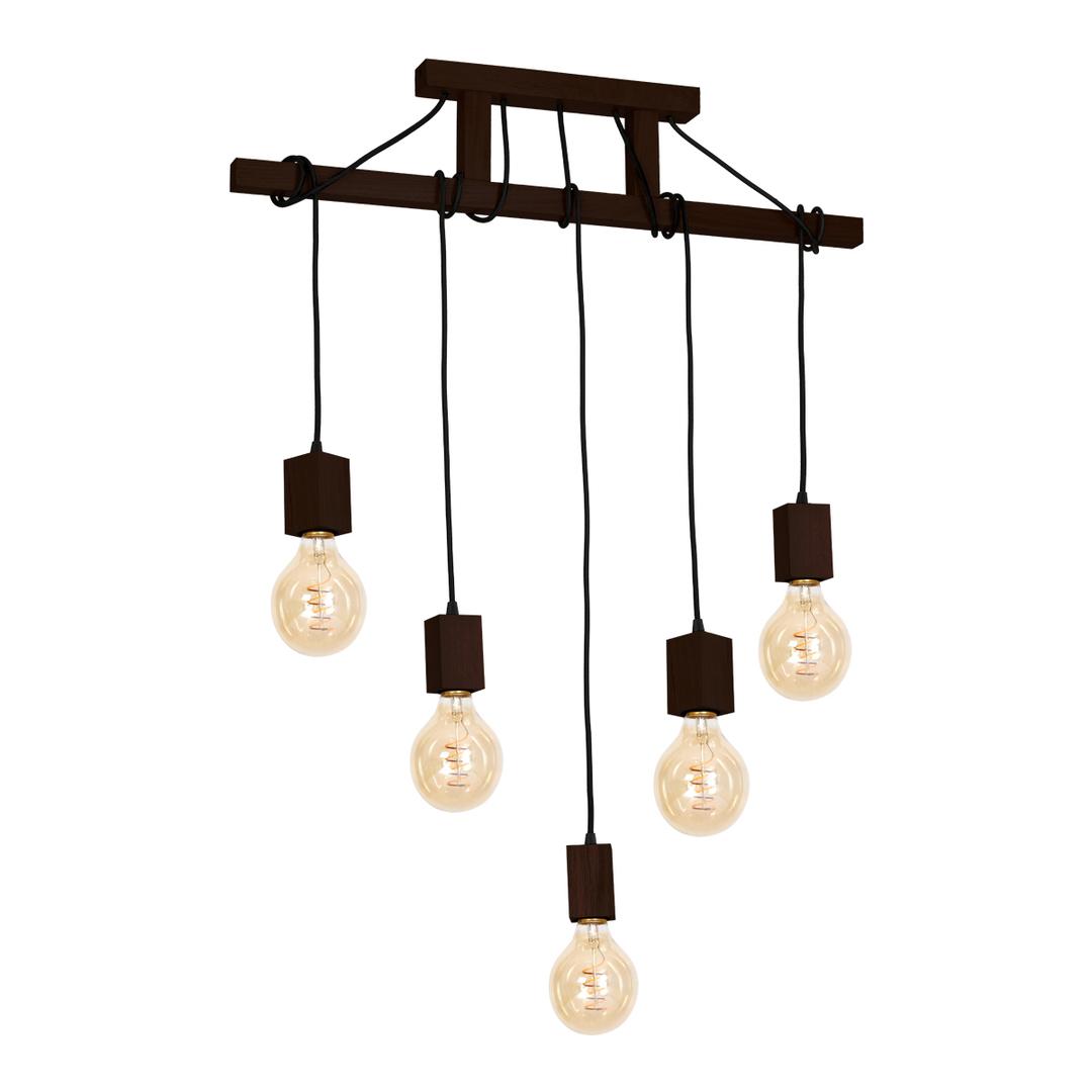 Wood Hanging Lamp Jack 5x E27 Walnut