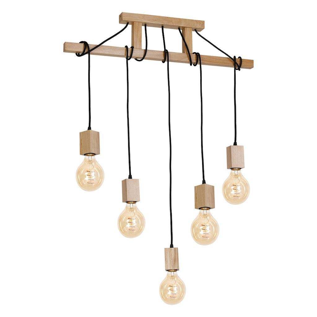 Wood Hanging Lamp Jack 5x E27