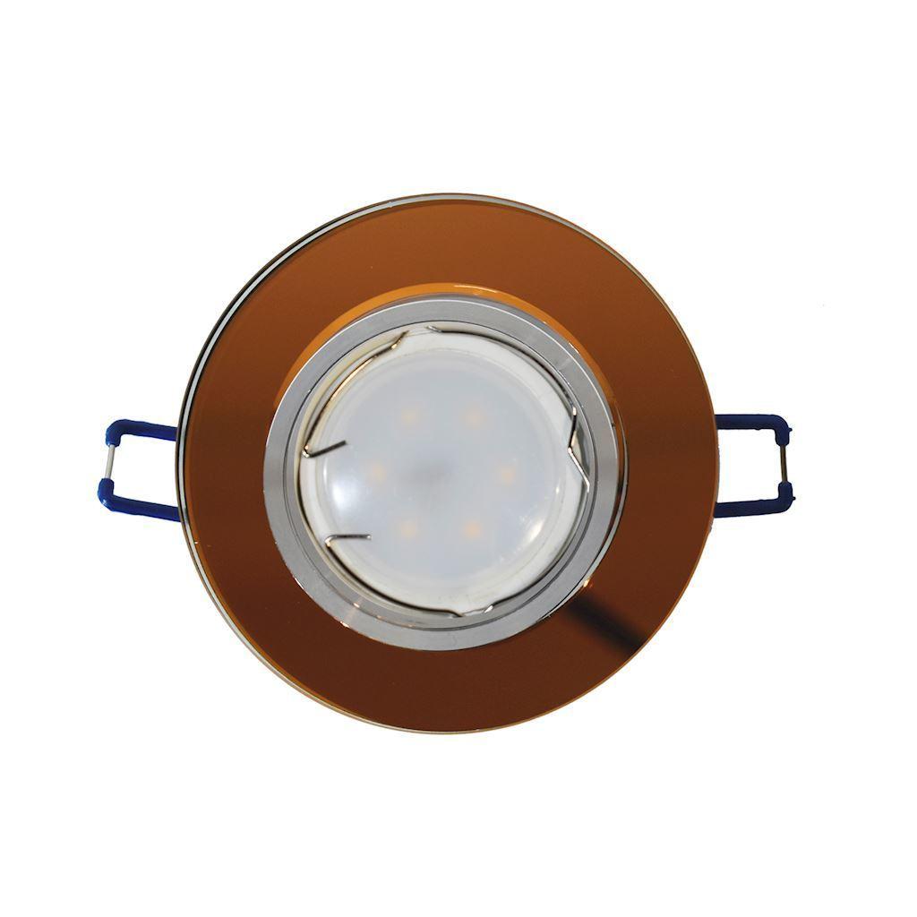 Amber Kit Ceiling Eye Glass Round Amber + 1.5 W Bulb Gu10 Socket