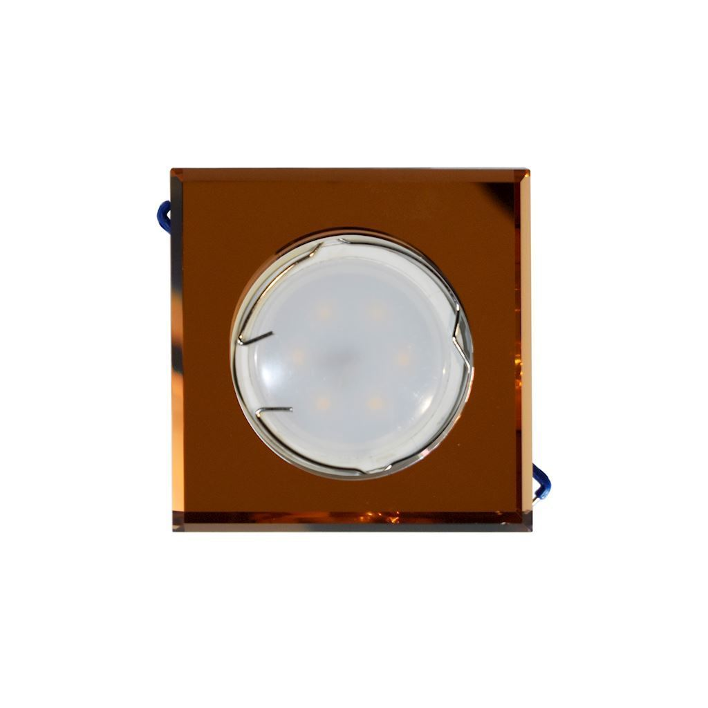 Amber Set Ceiling Eye Glass Square Amber + 1.5 W Bulb Gu10 Socket