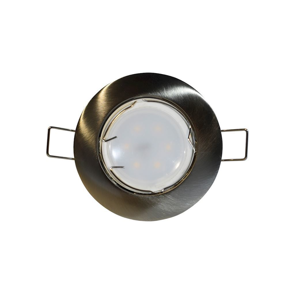 Chrome Ceiling Eye Set Cast Basic Mat + 1.5 W Gu10 Bulb Socket