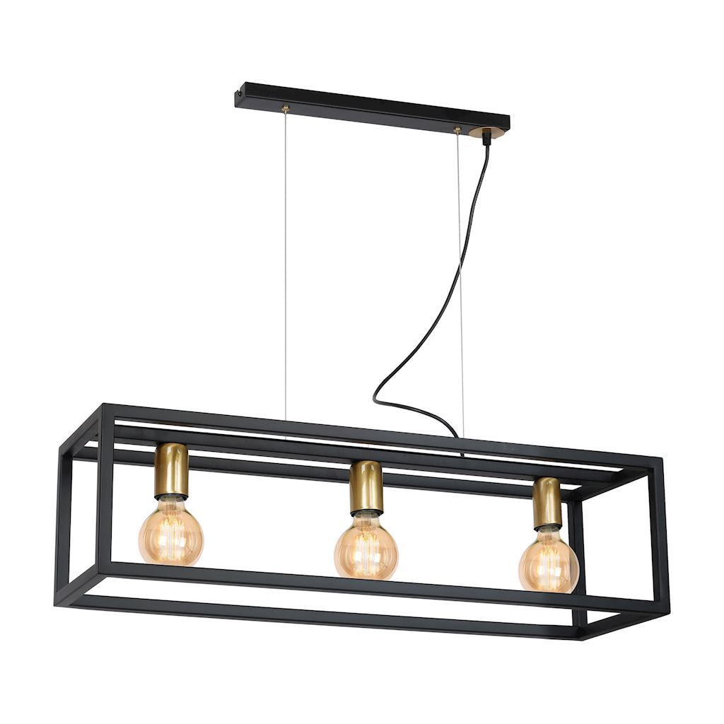 Black Hanging Lamp Cage 3x E27