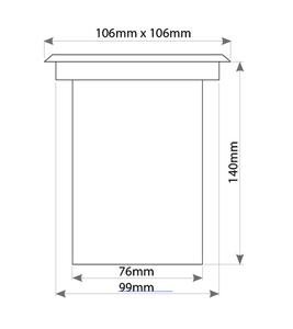 Chrome Overhead Luminaire Viale Square 1x Gu10 IP67 small 1