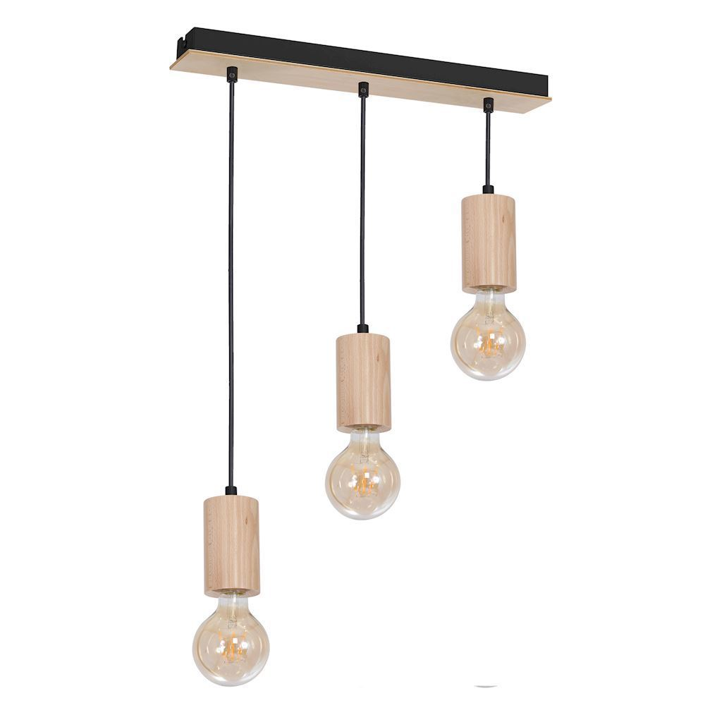 Wood Hanging Lamp Lines 3x E27