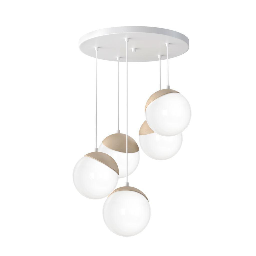 Hanging Lamp Sphere Wood 5x E14