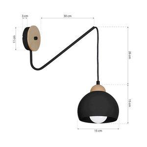 Black Wall lamp Dama Black 1x E27 small 7