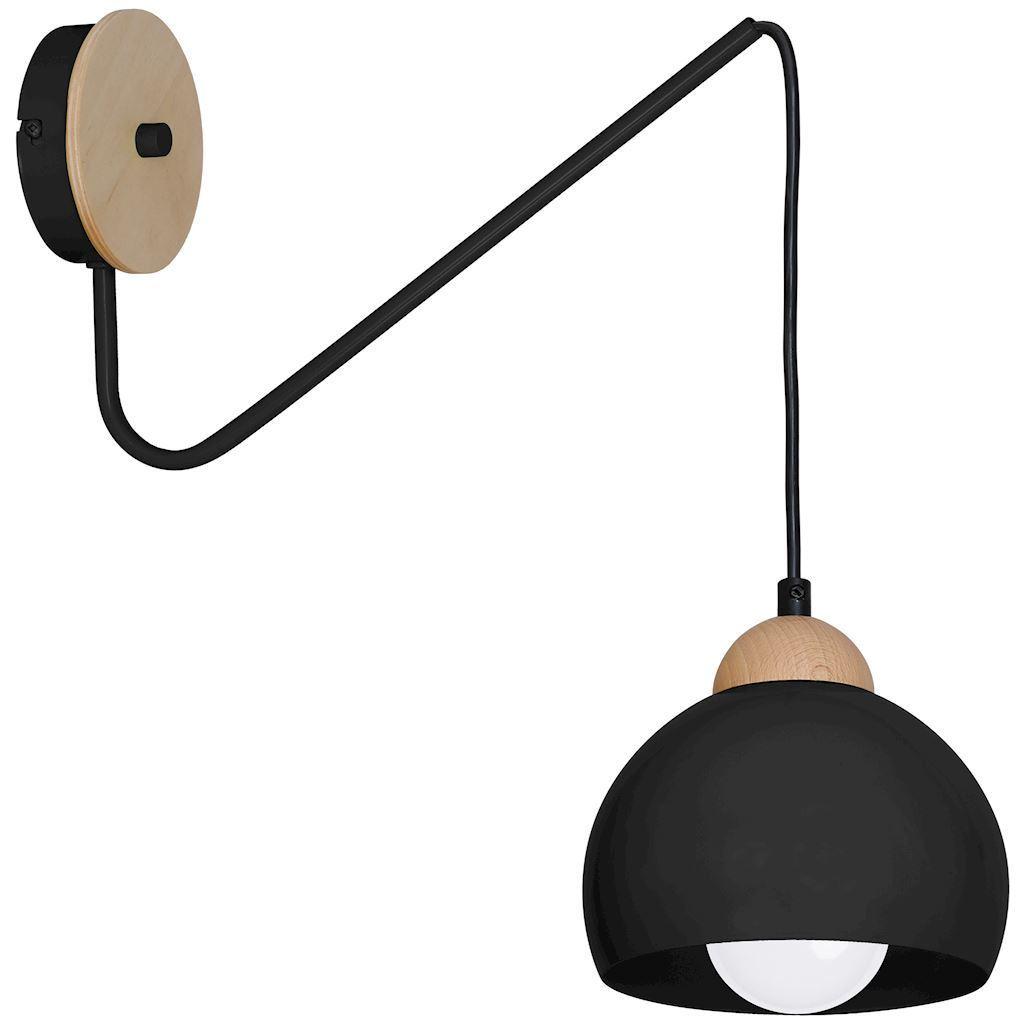 Black Wall lamp Dama Black 1x E27