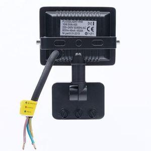 Black LED floodlight 10 W. Color: 4500 K. Pir IP65 small 3