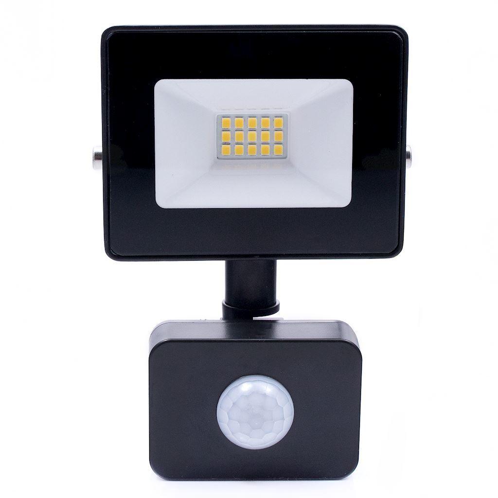 Black LED floodlight 10 W. Color: 4500 K. Pir IP65