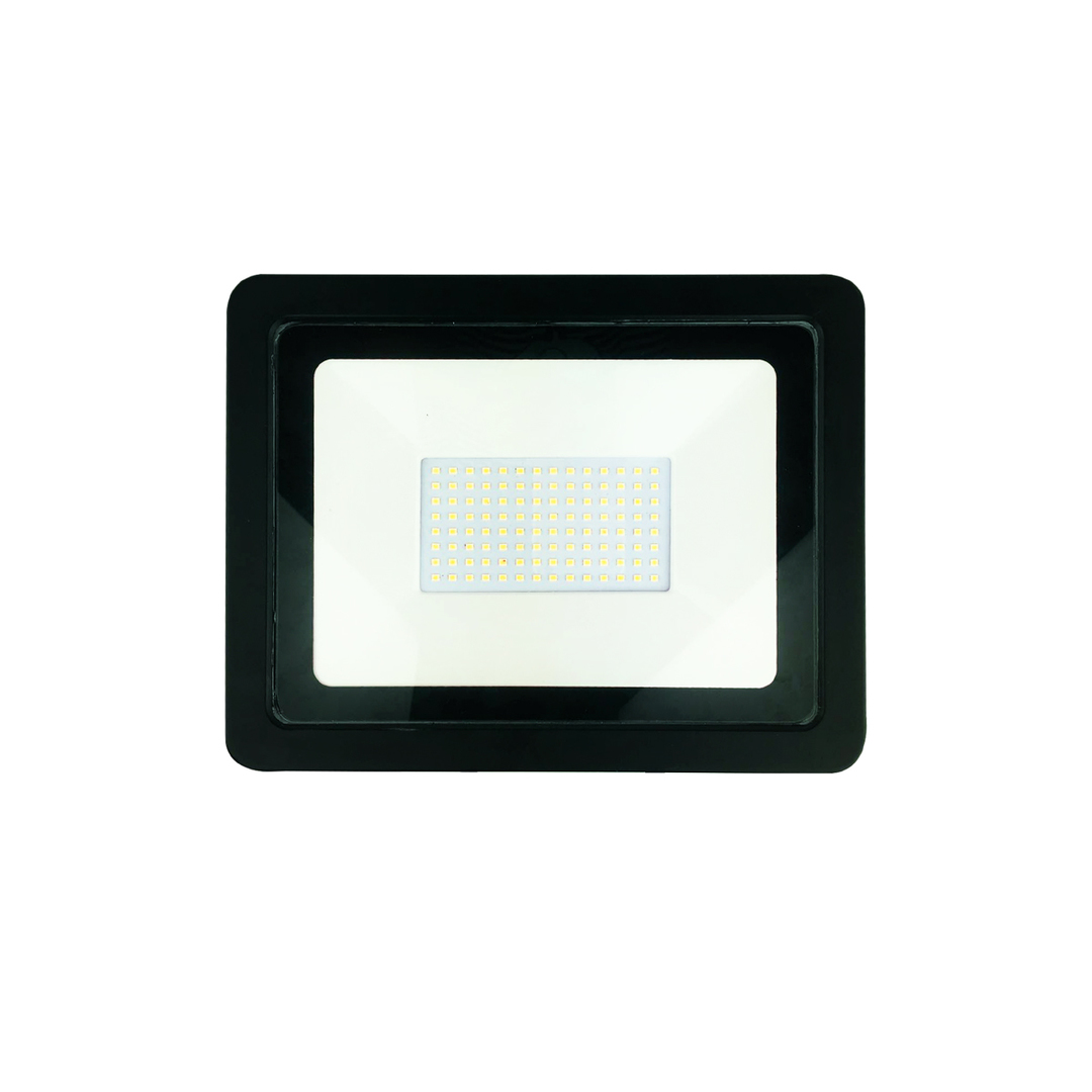 Black 150W LED floodlight. Color: 6000K IP65