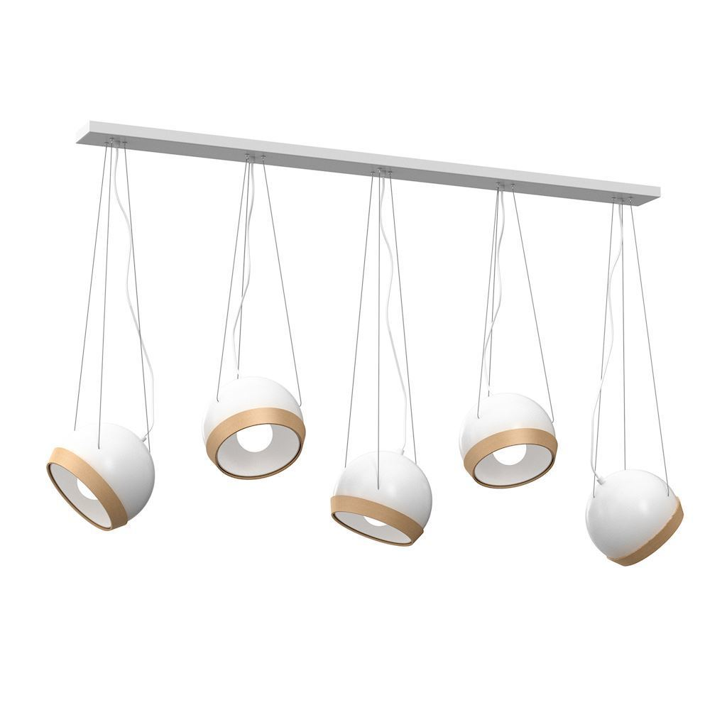 White Oval White Hanging Lamp 5x E27