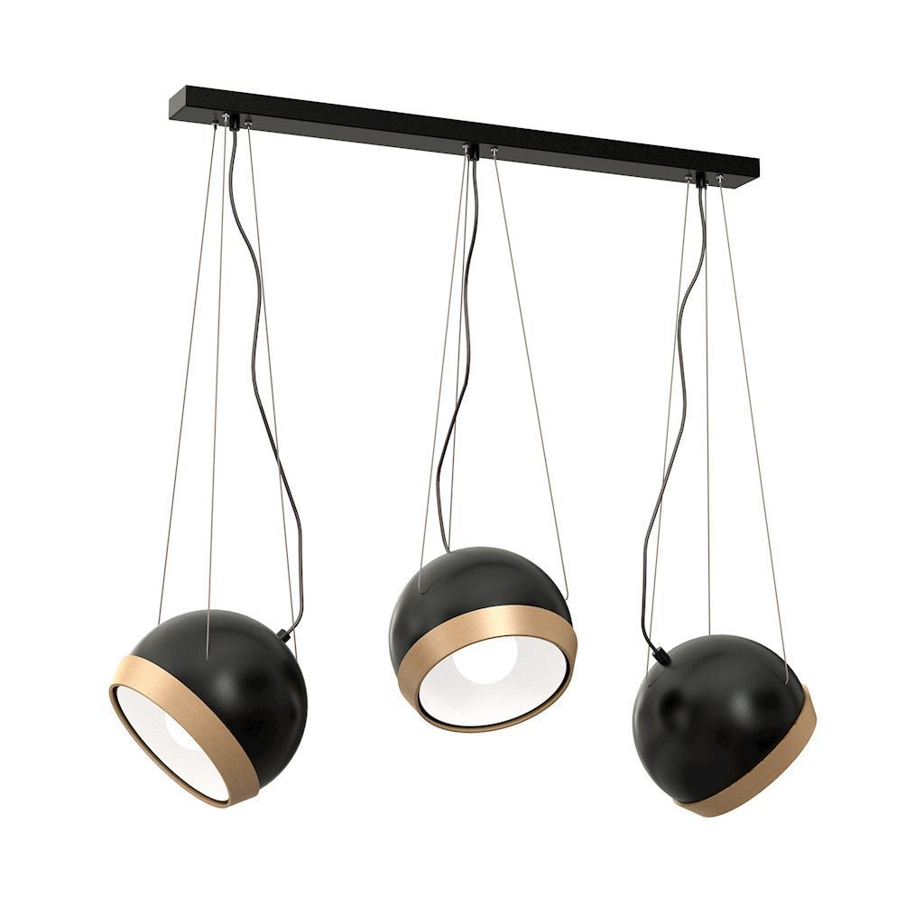 Black Oval Black Pendant Lamp 3x E27
