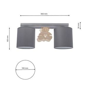 Gray Ceiling Lamp Bear 2x E27 small 9