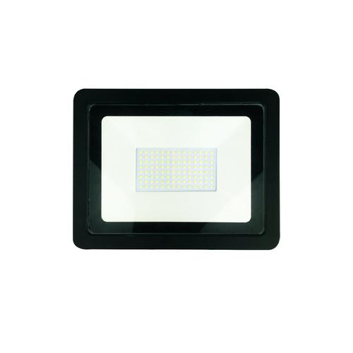 Black 100W LED floodlight. Color: 6000K IP65