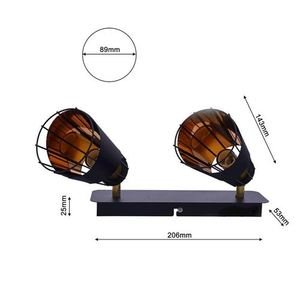 Black Rick 2x E14 Ceiling Lamp small 5