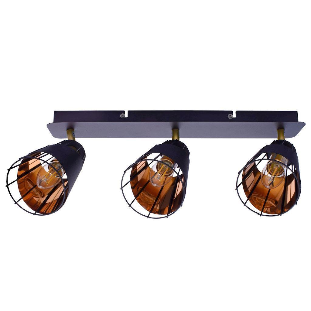 Black Ceiling Lamp Rick 3x E14