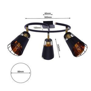 Black Ceiling Lamp Rick 3x E14 small 5
