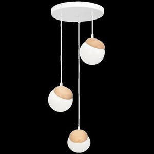 Sphere Wood White Lamp 3x E14 small 6